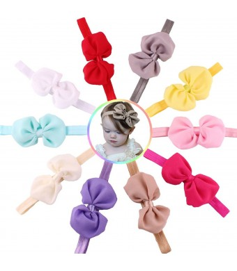 Qandsweet Baby Girl's Headbands Chiffon Hair Flower