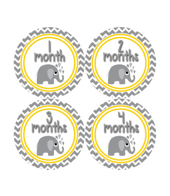Months in Motion 382 Monthly Baby Stickers Gender Neutral Elephants Months 1-12