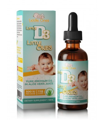 Baby Vitamin D Drops - Ideal for Infants - Naturally Derived Vitamin D3 Liquid in Pure Aloe Vera Juice with Easy to Use Dropper - USA made - BONUS eB