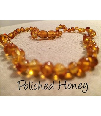 Baltic Amber Teething Necklace for Babies (Unisex) (Honey) - Baby, Infant, and Toddlers will all benefit. Polished Honey Anti Flammatory, Drooling an