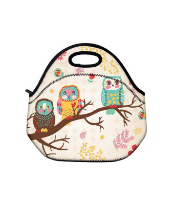 Cute Owls Neoprene Insulated Waterproof Cooler Box Container Soft Case baby lunchbox Handbag Work Travel Outdoor Thermal Lunch Tote Bag School/Office