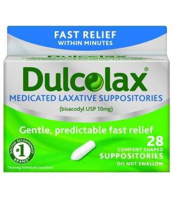 Dulcolax Medicated Laxative Suppositories, 28 Count