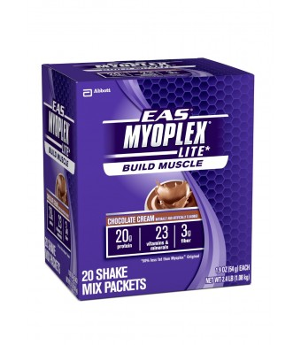 EAS Myoplex Lite Nutrition Shake Powder, Chocolate Cream, 1.9-Ounce Packet, 20 Count