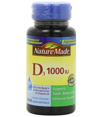 Nature Made, Vitamin D3 1,000 I.u. Liquid Softgels, 100-Count