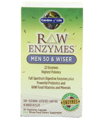 Garden of Life RAW Enzymes(TM) Men 50 and Wiser, 90 Capsules