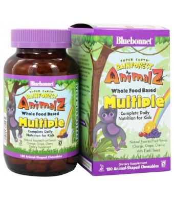 Super Earth Rainforest Animalz Whole Food Based Multiple - Orange, Grape, Cherry 180 ANIMAL-SHAPED CHEWABLES