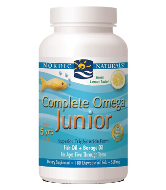 Nordic Naturals Complete Omega Junior Fish oil, 500 mg, 180 soft gels,(Lemon Taste)