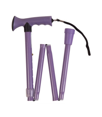 HealthSmart Colorful Comfort Grip Walking Cane with Soft Gel-like Handle, Adjustable, Folding, Lavender