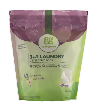 Grab Green 3-in-1 Laundry Detergent, Lavender with Vanilla, 60 Loads