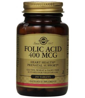 Solgar Folic Acid Tablets, 400 mcg, 250 Count
