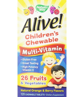Nature's Way Alive Children's Multi-Vitamin Chewableable Tablets, 120 Count