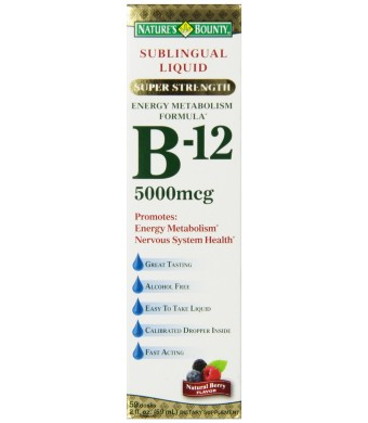 Nature's Bounty, Super Strength B-12, 5000mcg, 2-Ounce