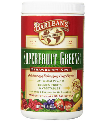 Barlean's Organic Oils Superfruit Greens, Strawberry Kiwi, 9.5 Ounce