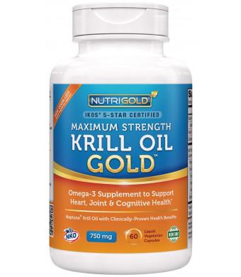 Maximum Strength Krill Oil Supplement - Krill Oil Omega-3 Gold, 750 mg, 60 Veggie Capsules - IKOS 5-Star Certified, Hexane-free, Cold-Pressed Neptune