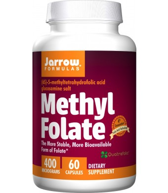 Jarrow Formulas Methyl Folate 5-MTHF Nutritional Supplement, 400 Mcg, 60 Count