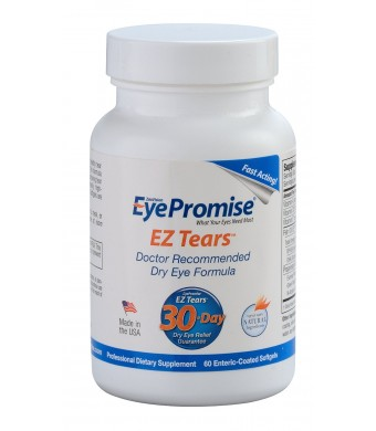 EyePromise EZ Tears Eye Vitamin - Fast Dry Eye Relief Supplement - Omega-3s and 7 Anti-Inflammatory Ingredients