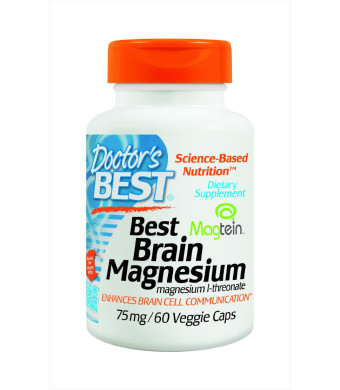 Doctor's Best Brain Magnesium Vegetarian Capsules, 75 mg, 60 Count