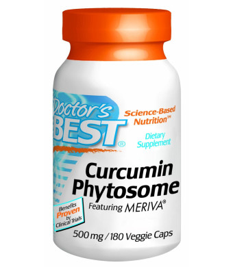 Doctor's Best Curcumin Phytosome Featuring Meriva Vegetarian Capsules, 500mg 180 Count