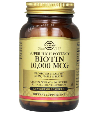 Solgar Biotin Vegetable Capsules, 10,000 mcg, 120 Count