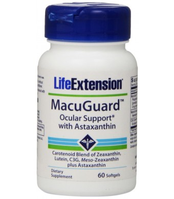 Life Extension MacuGuard With Zeaxanthin and Lutein plus ASTAXANTHIN, 60 Ct
