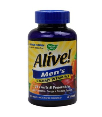 Nature's Way Alive! Men's Energy Gummy Multi-Vitamins Chewables, 75 Count