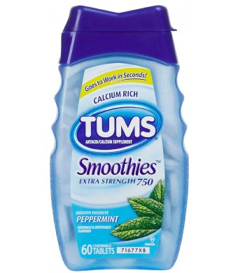 Tums Smoothies Antacid Calcium Supplement Peppermint -- 60 Chewable Tablets