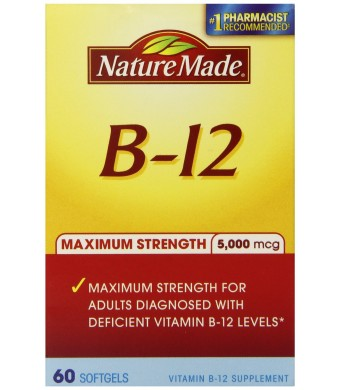 Nature Made Maximum Strength Vitamin B-12 Soft gel, 5000 mcg, 60 Count