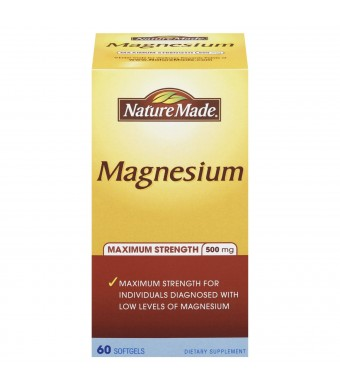 Nature Made Maximum Strength Magnesium Softgel, 500 mg, 60 Count