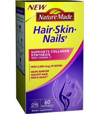 Nature Made Hair, Skin, Nails with Biotin Softgel, 2500 mcg, 60 Count