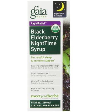 Gaia Herbs Black Elderberry Nighttime Syrup, 5.4 Ounce
