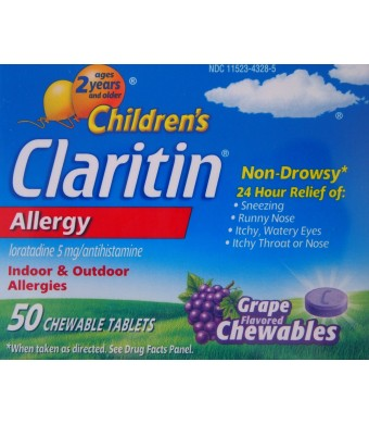 Claritin Children's ND Chewable Tablets 5mg/antihistamine - Grape - 50 ct
