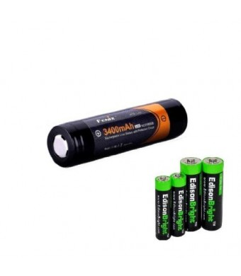 Fenix ARB-L2S 3400mAh Protected 18650 Rechargeable Li-ion Battery with EdisonBright AA/AAA alkaline battery sampler pack.- Designed for TK75 TK51 TK2
