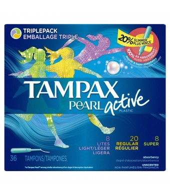Pearl Active Triplepack, Light/Regular/Super Absorbency, unscented plastic applicator tampons, 36 Count