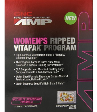 GNC Pro Performance AMP Women's Ripped Vitapak Program Supplement, 30 Count