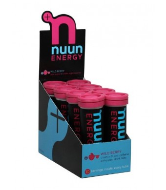 Nuun Energy, B-Vitamin and Caffeine Enhanced Electrolyte Drink Tablets, Wild Berry (8 Tubes/10 Tabs Per Tube)