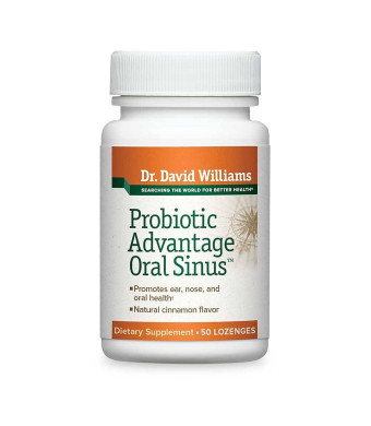 Dr. David Williams' Probiotic Advantage Oral Sinus Supplement for Ear, Nose, Throat and Sinus Health, 50 Lozenges (50-Day Supply)