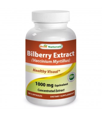 #1 Bilberry Extract 1000 mg 90 Capsules by Best Naturals - Manufactured in a USA Based GMP Certified Facility and Third Party Tested for Purity. Guar