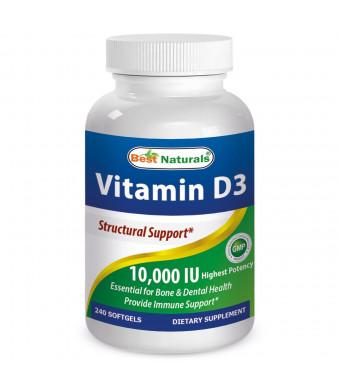 Vitamin D3 10000 IU 240 Softgels by Best Naturals - GMO-free, Preservative-free, USP Grade  Natural Vitamin D