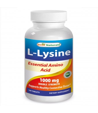 #1 L-Lysine 1000mg 180 Tablets By Best Naturals (Clinically Proven -- Essential Amino Acid -- Double Strength) - Manufactured in a USA Based GMP Cert