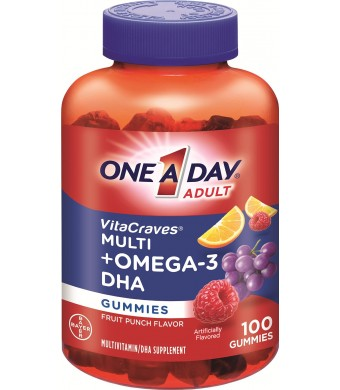 One A Day Vitacraves Plus Omega-3 DHA Gummies, 100 Count