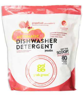 Grab Green Automatic Dishwashing Detergent Powder, Grapefruit and Cranberry, 80 Loads