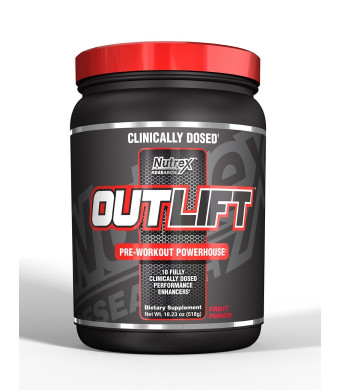 Nutrex Research Outlift Pre-Workout Supplement, Fruit Punch, 18.27 oz