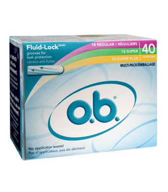 o.b. Digital Tampons, Multi-Pack (18 Regular/12 Super/10 Super Plus), 40 ct