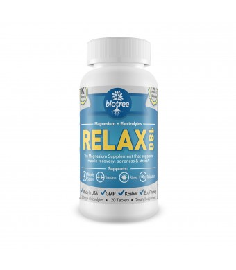 Bio Tree Labs Relax 180 -- magnesium + electrolytes for muscle cramps, muscle spasms, relief of stress