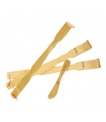 "3x 17""  BambooMN Brand Bamboo Back Scratchers Backscratchers + Bamboo Spreader"