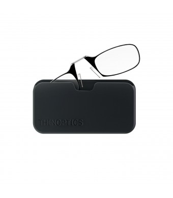 ThinOPTICS Reading Glasses on your Phone, +1.50 Black Glasses, Black Universal Pod Case