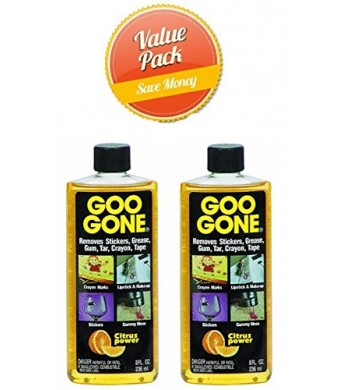 Goo Gone 8 oz., 2 Pack Value Pack - Removes stickers, grease, gum, tar, crayon and tape