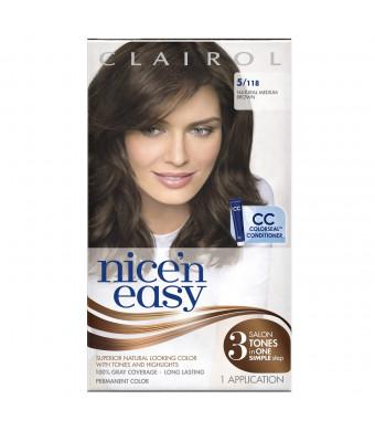 Clairol Nice 'N Easy Hair Color 118 Natural Medium Brown 1 Kit (Pack of 3)