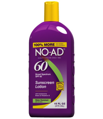 No-Ad 00224 SPF 60 Sunscreen Lotion, General Protection 16 oz, Purple Finish