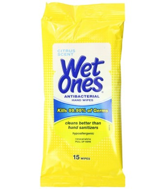 Wet Ones Antibacterial Hand Wipes Travel Pack, 15-Count (Pack of 12)